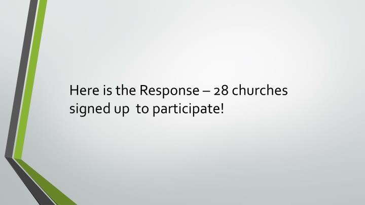 Here is the Response – 28 churches signed up  to participate!