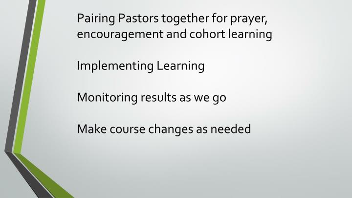 Pairing Pastors together for prayer, encouragement and cohort learning