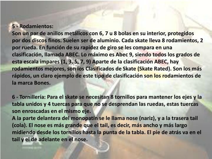 5 - Rodamientos: