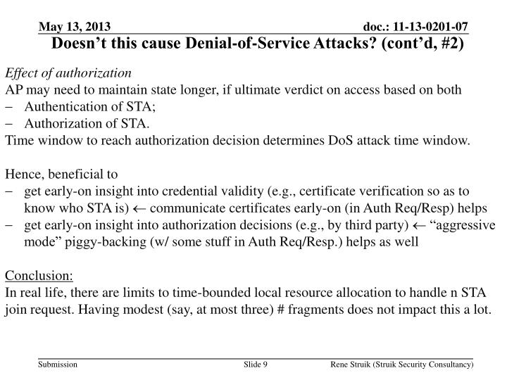 Doesn't this cause Denial-of-Service Attacks? (cont'd, #2)