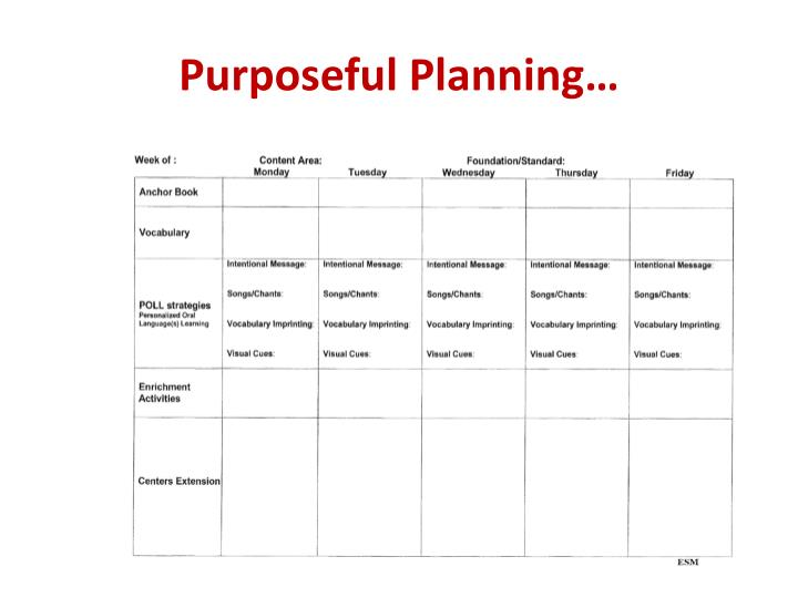 Purposeful Planning…