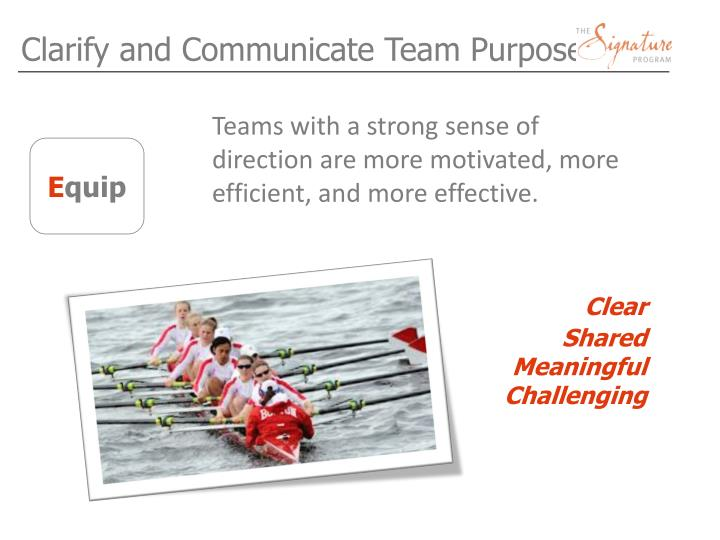 Clarify and Communicate Team Purpose