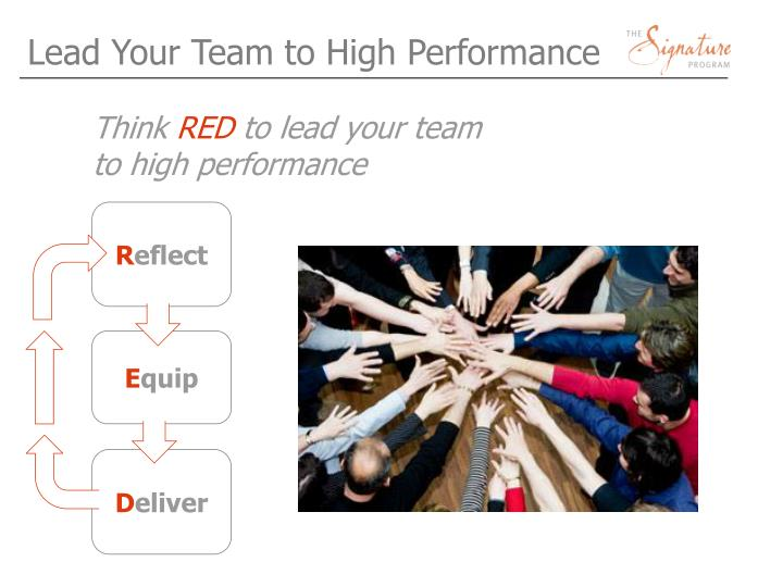 Lead Your Team to High Performance