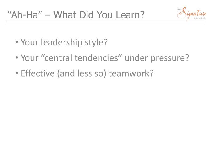 """Ah-Ha"" – What Did You Learn?"