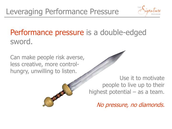 Leveraging Performance Pressure