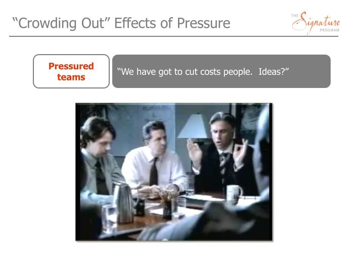 """Crowding Out"" Effects of Pressure"