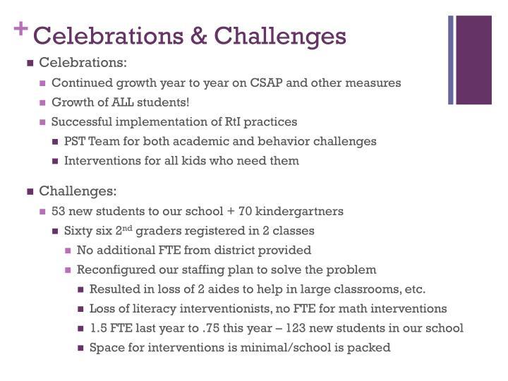 Celebrations & Challenges