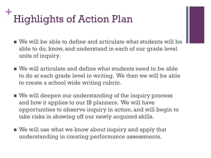 Highlights of Action Plan