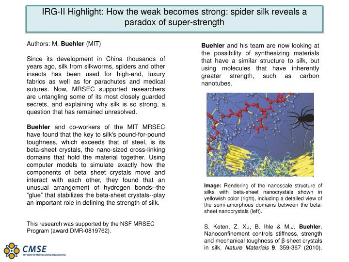IRG-II Highlight: How the weak becomes strong: spider silk reveals a paradox of super-strength