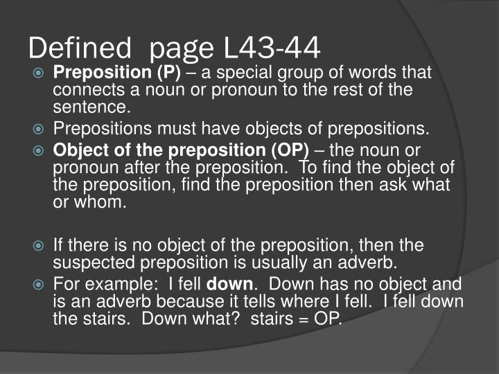 Defined page l43 44