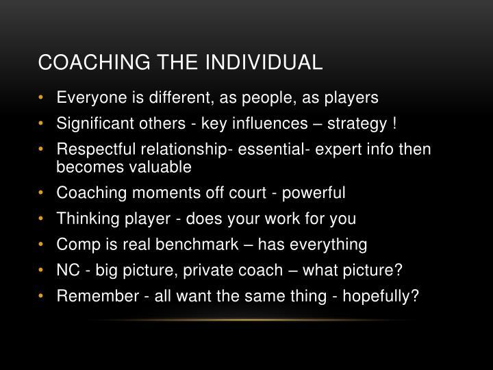 Coaching the Individual