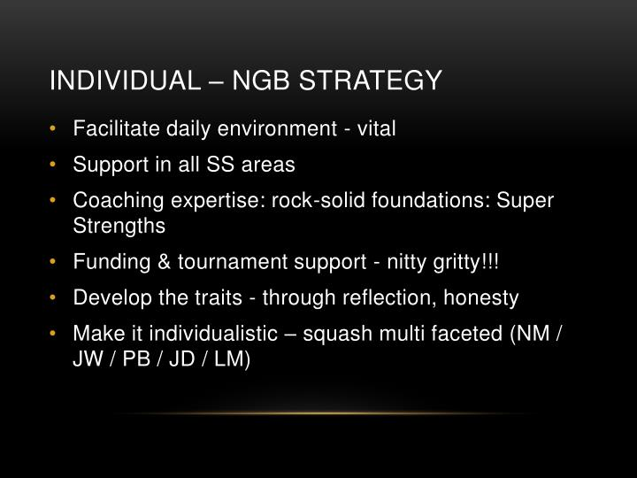 Individual – NGB Strategy