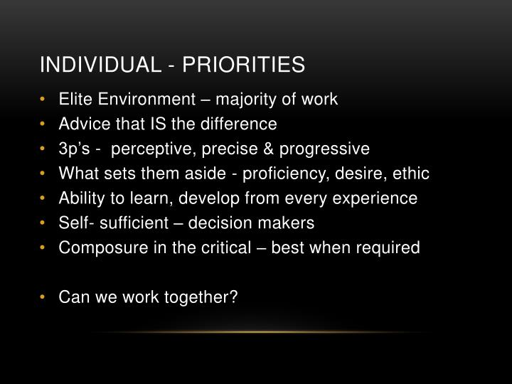 Individual - Priorities
