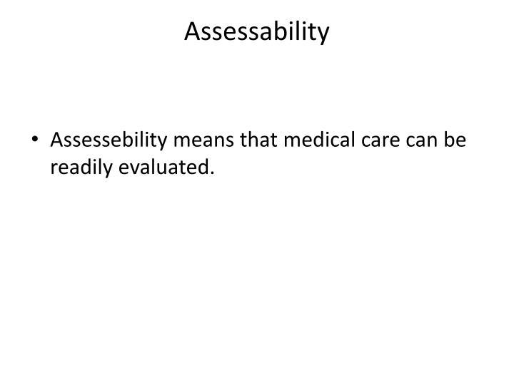 Assessability