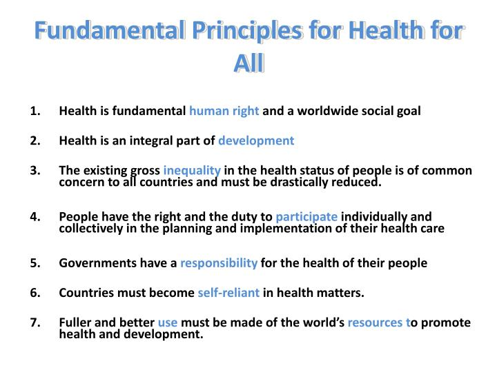 Fundamental Principles for Health for All