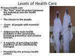 levels of health care1