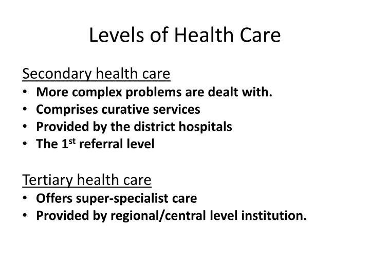Levels of Health Care