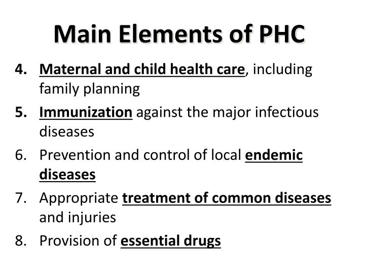 Main Elements of PHC