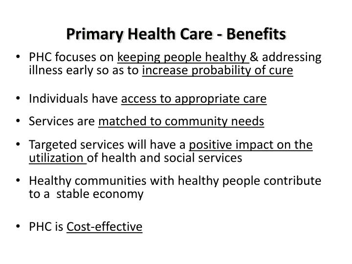 Primary Health Care - Benefits