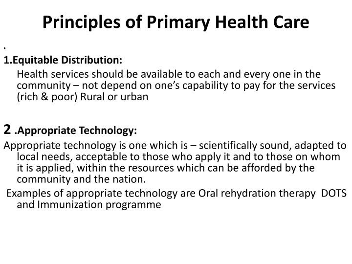 Principles of Primary Health Care
