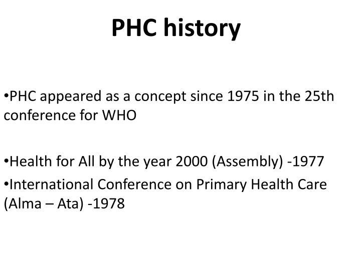 PHC history