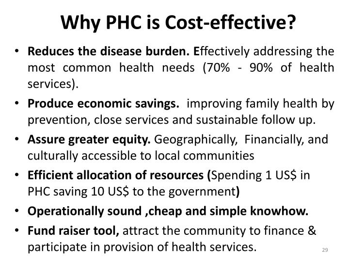 Why PHC is Cost-effective?