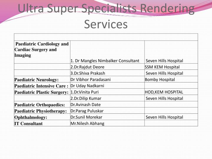 Ultra Super Specialists Rendering Services
