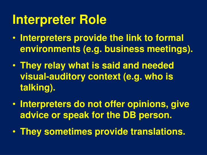 Interpreter Role