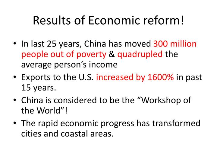 Results of Economic reform!