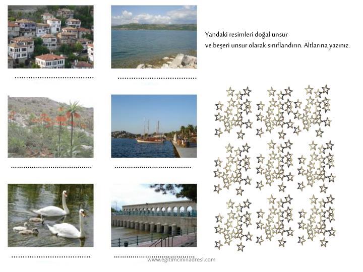 Yandaki resimleri doğal unsur