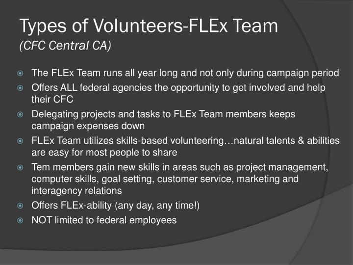 Types of Volunteers-FLEx Team