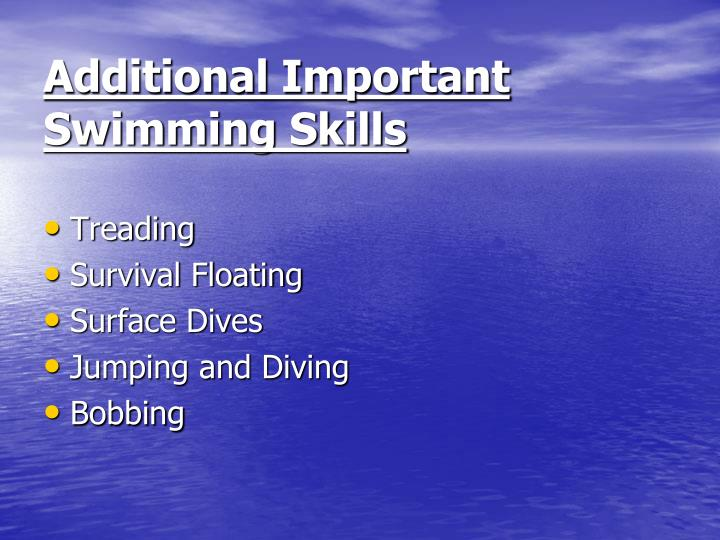 Additional Important Swimming Skills
