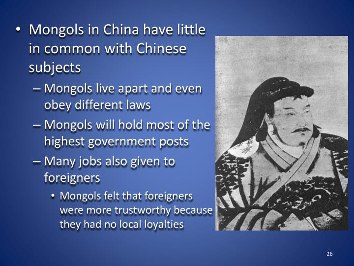 Mongols in China have little in common with Chinese subjects