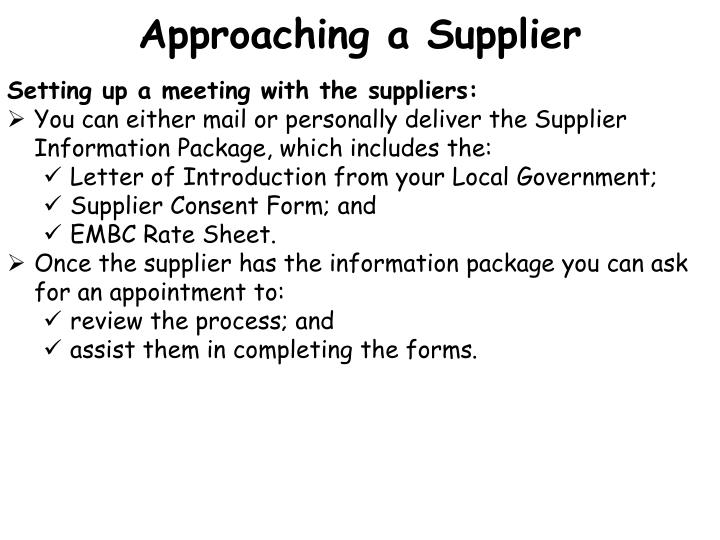 Approaching a Supplier