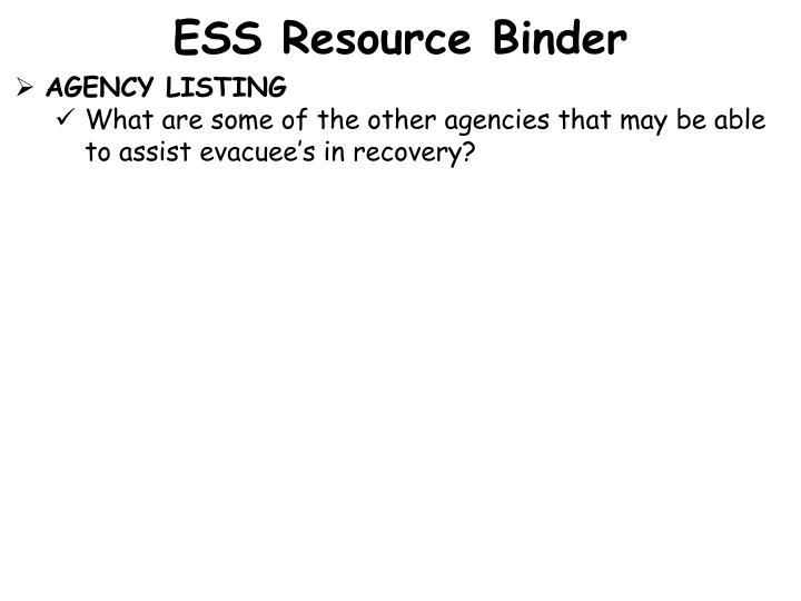 ESS Resource Binder