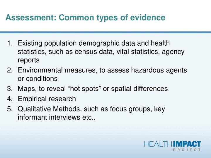 Assessment: Common types of evidence