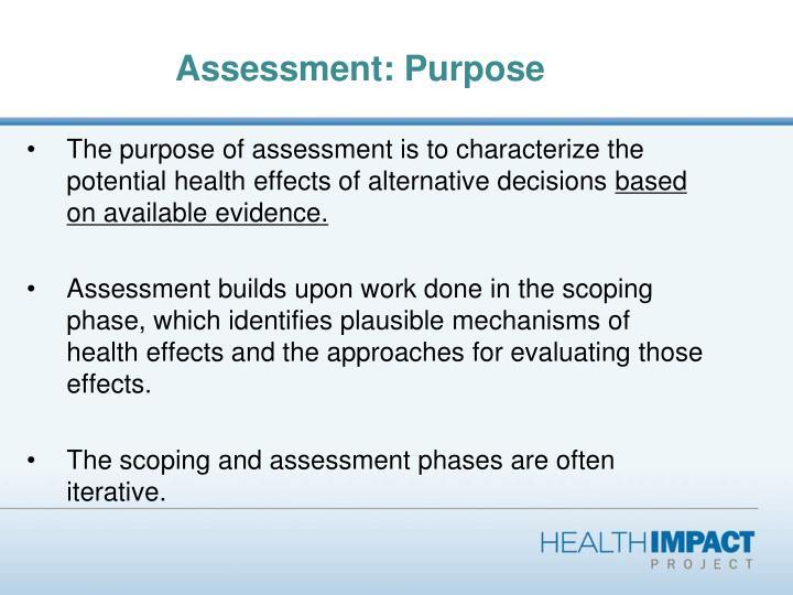 Assessment: Purpose