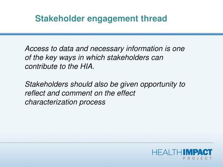 Stakeholder engagement thread