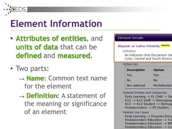 Element Information