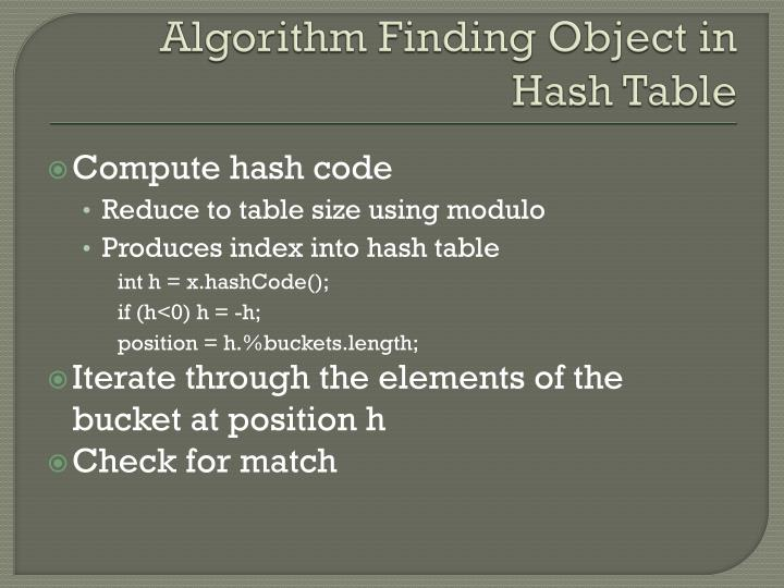 Algorithm Finding Object in Hash Table