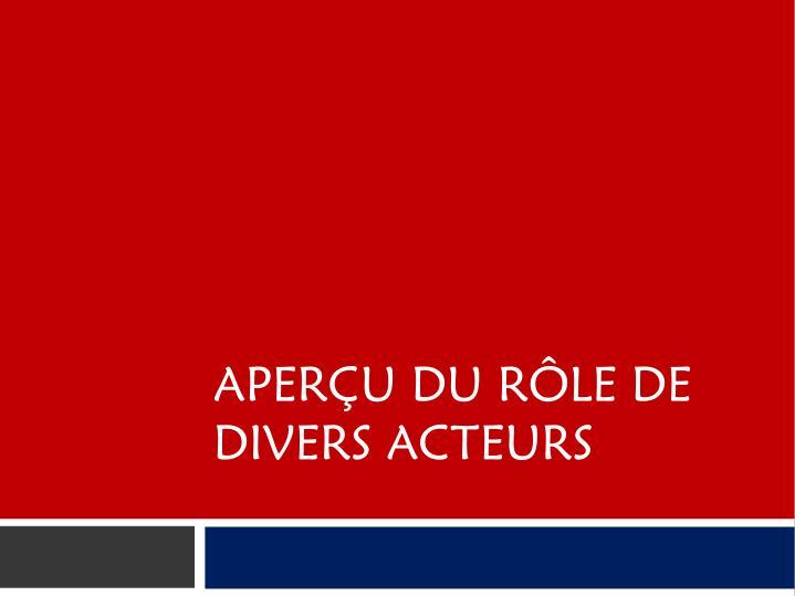 APERU DU RLE DE DIVERS ACTEURS