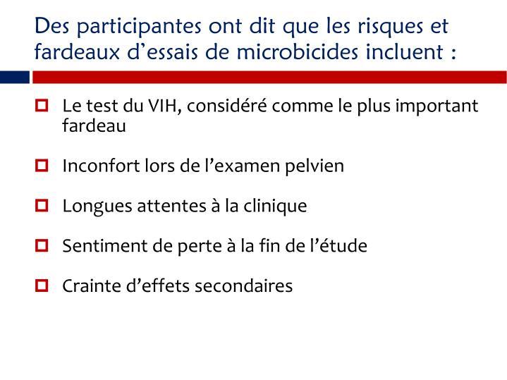 Des participantes ont dit que les risques et fardeaux dessais de microbicides incluent :