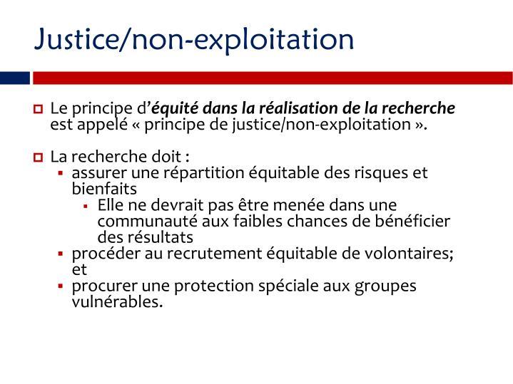 Justice/non-exploitation