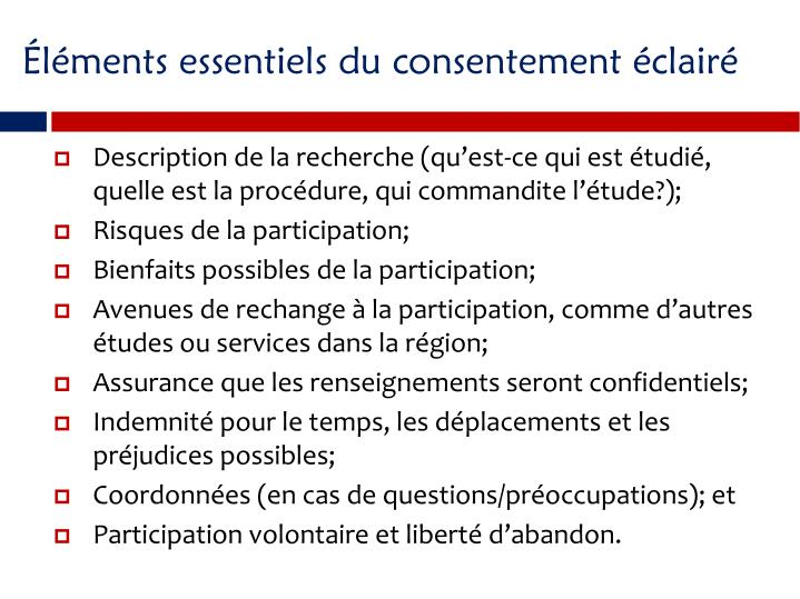 lments essentiels du consentement clair