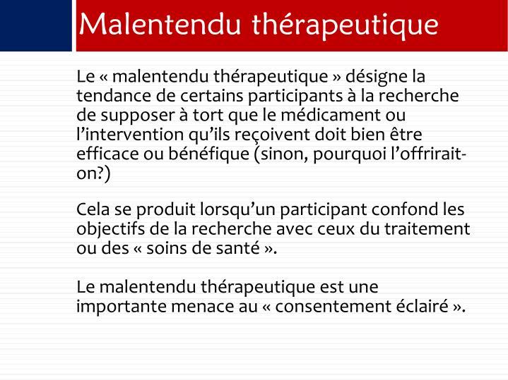 Malentendu thrapeutique