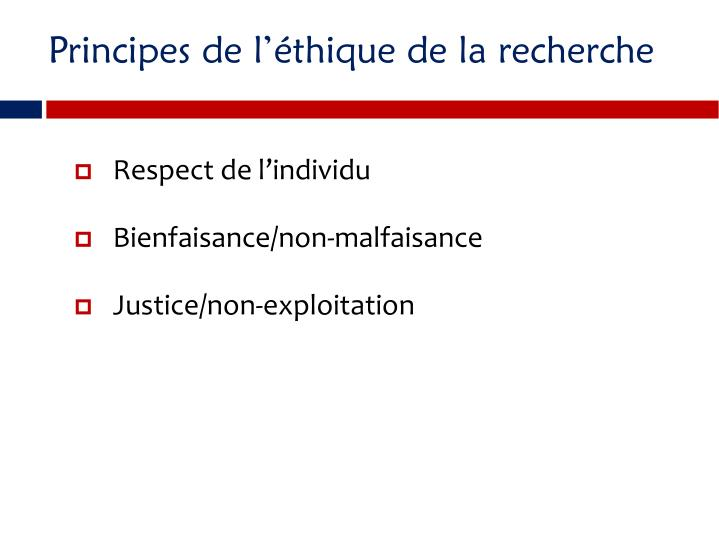 Principes de lthique de la recherche