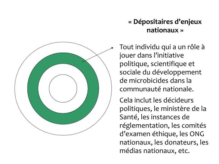 Dpositaires denjeux nationaux