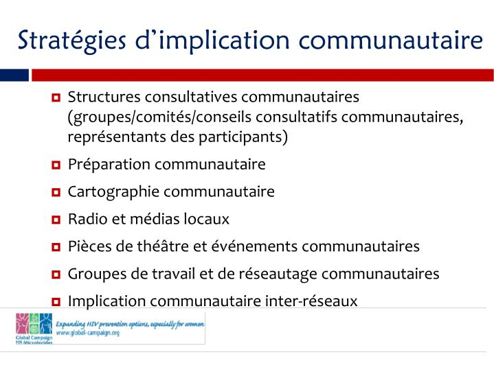 Stratgies dimplication communautaire
