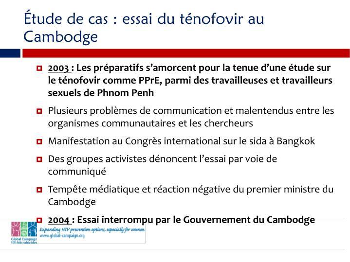 tude de cas : essai du tnofovir au Cambodge