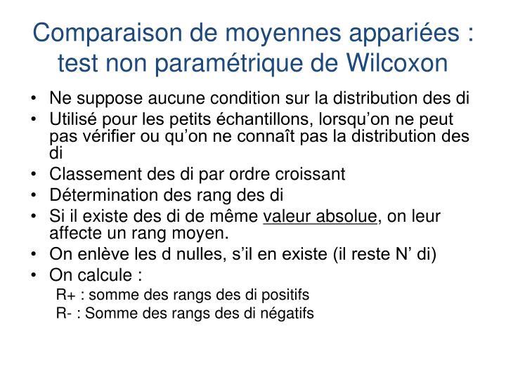 Comparaison de moyennes appariées : test non paramétrique de